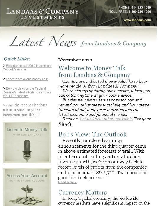 Now, We Deliver: Money Talk newsletter | Landaas & Company